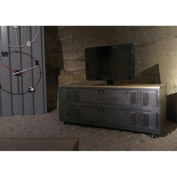 meuble tv indutriel avec 2 portes