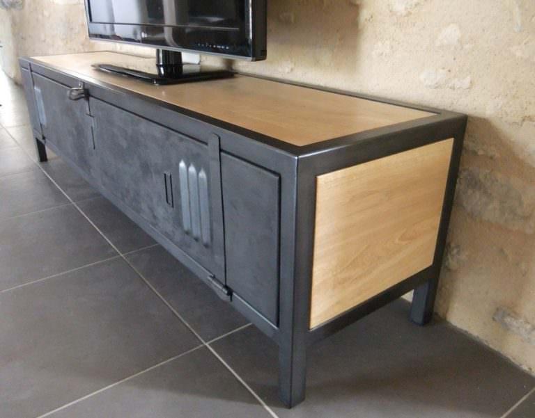 meuble tv industriel bois acier avec ancienne porte de vestiaire. Black Bedroom Furniture Sets. Home Design Ideas