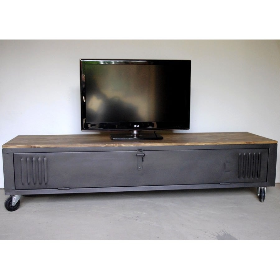 Vestiaire transform en meuble tv industriel metal et bois for Meuble tv console