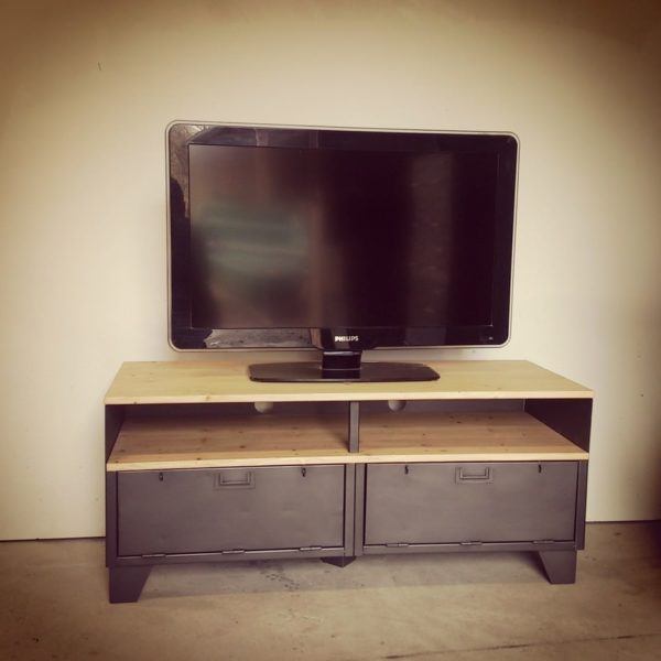 Meuble tv m tal et bois 120cm industriel restaur - Meuble tv bois acier ...