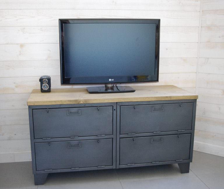 meuble tv industriel militaire