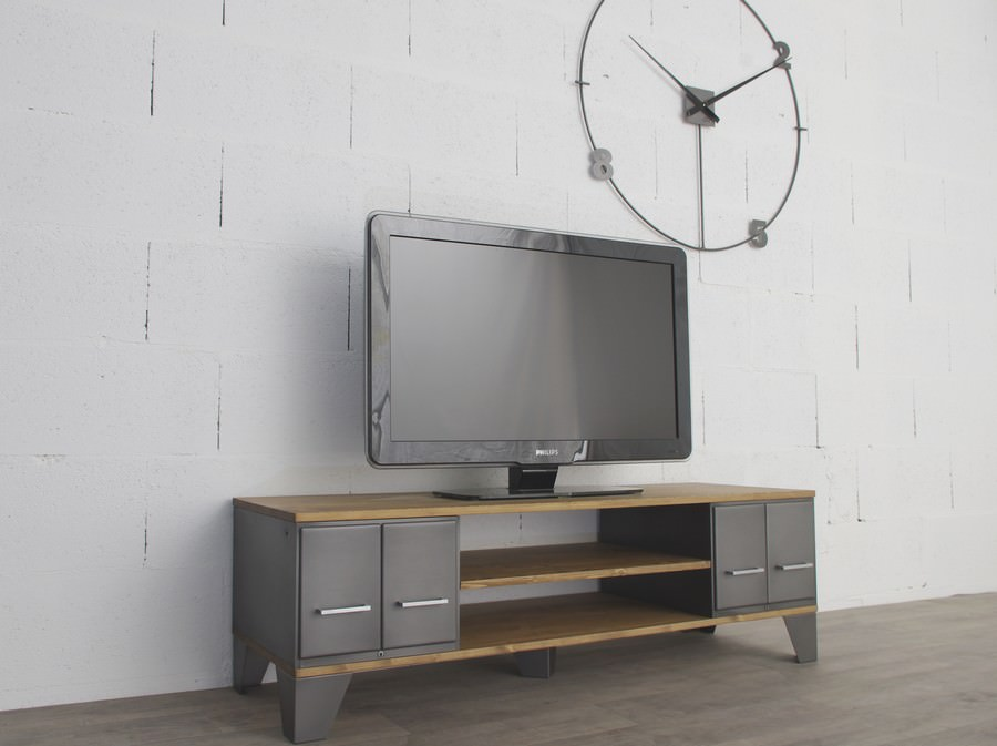 meuble tv industriel avec d 39 anciens tiroirs administratifs. Black Bedroom Furniture Sets. Home Design Ideas
