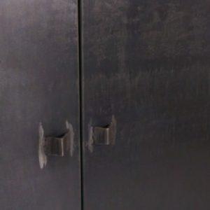 meuble d'angle en acier et bois industriel