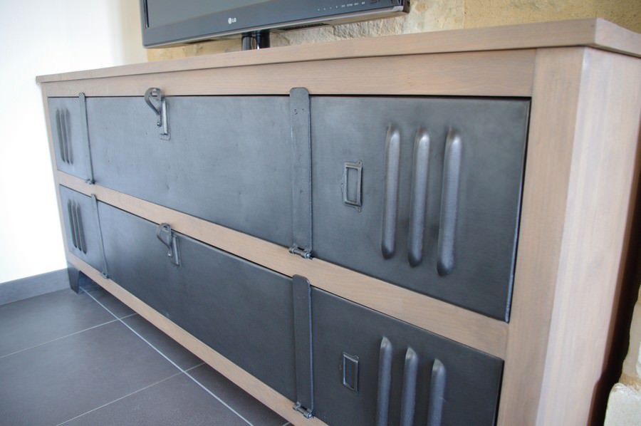 meuble tv buffet bois metal industriel sur. Black Bedroom Furniture Sets. Home Design Ideas