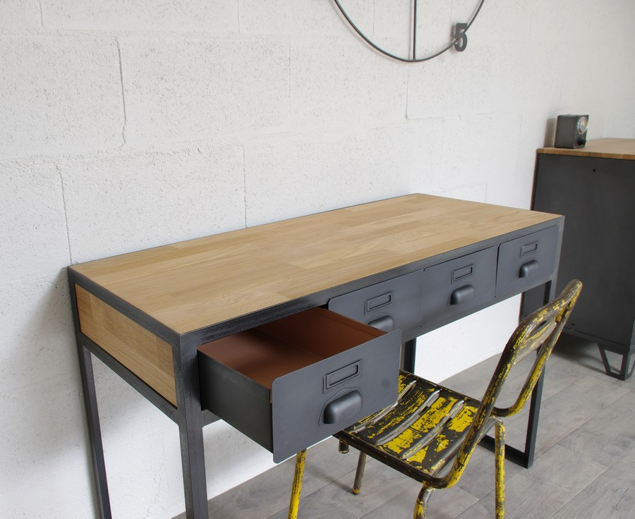 Bureau industriel tiroirs en m tal fabrication fran aise for Bureau industriel metal bois