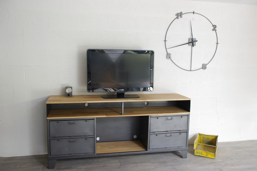 meuble tv industriel sur mesure