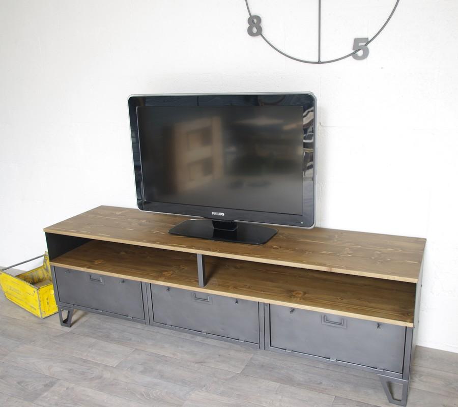 Meuble tv industriel bas m tal et bois 180cm industriel for Meuble tv 2016