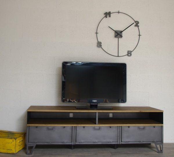meuble-tv-metal-industriel-3-clapets-militaires-niches