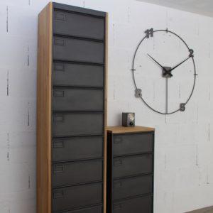 Vestiaire transform en meuble tv industriel metal et bois for Meuble colonne industriel