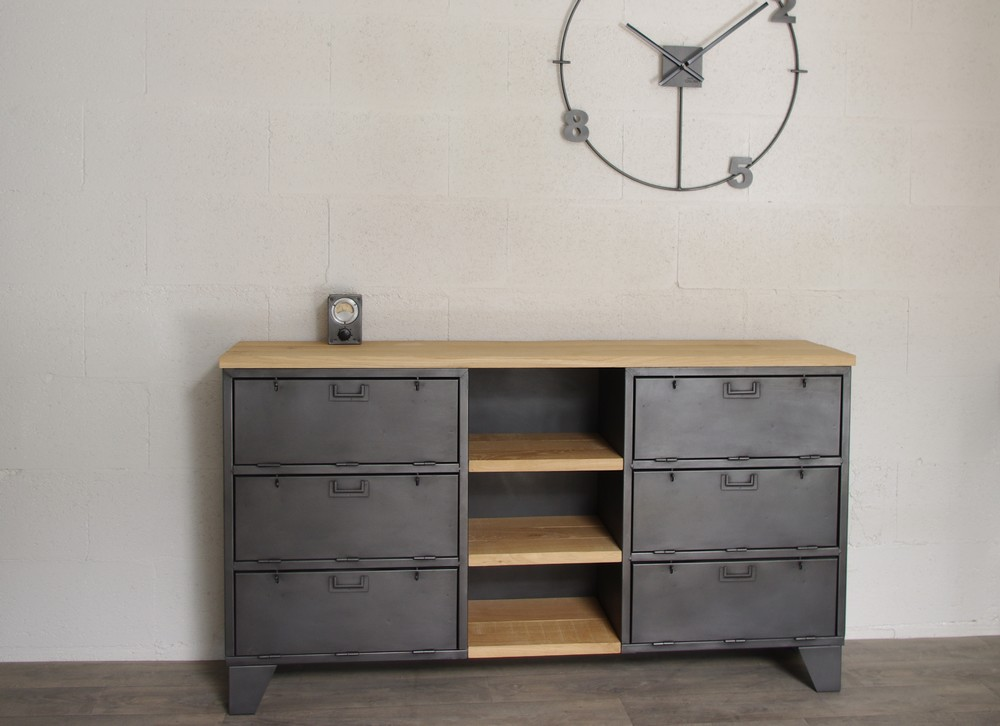 Meuble industriel buffet maison design for Buffet meuble