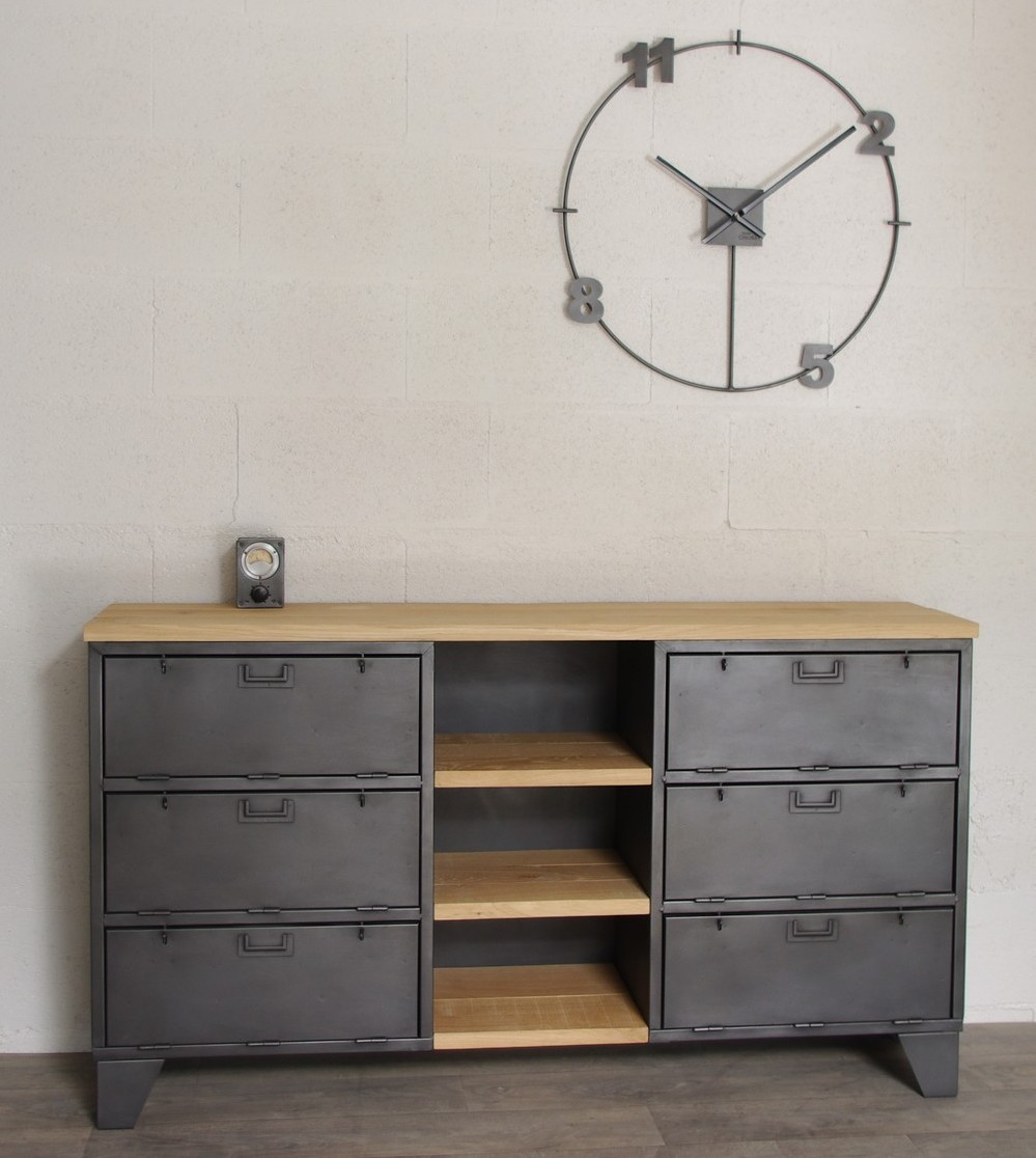 buffet de rangement industriel avec casiers militaires et niche. Black Bedroom Furniture Sets. Home Design Ideas