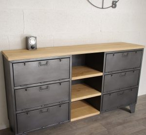 meuble tv industriel buffet sur mesure 2 heure cr ation. Black Bedroom Furniture Sets. Home Design Ideas