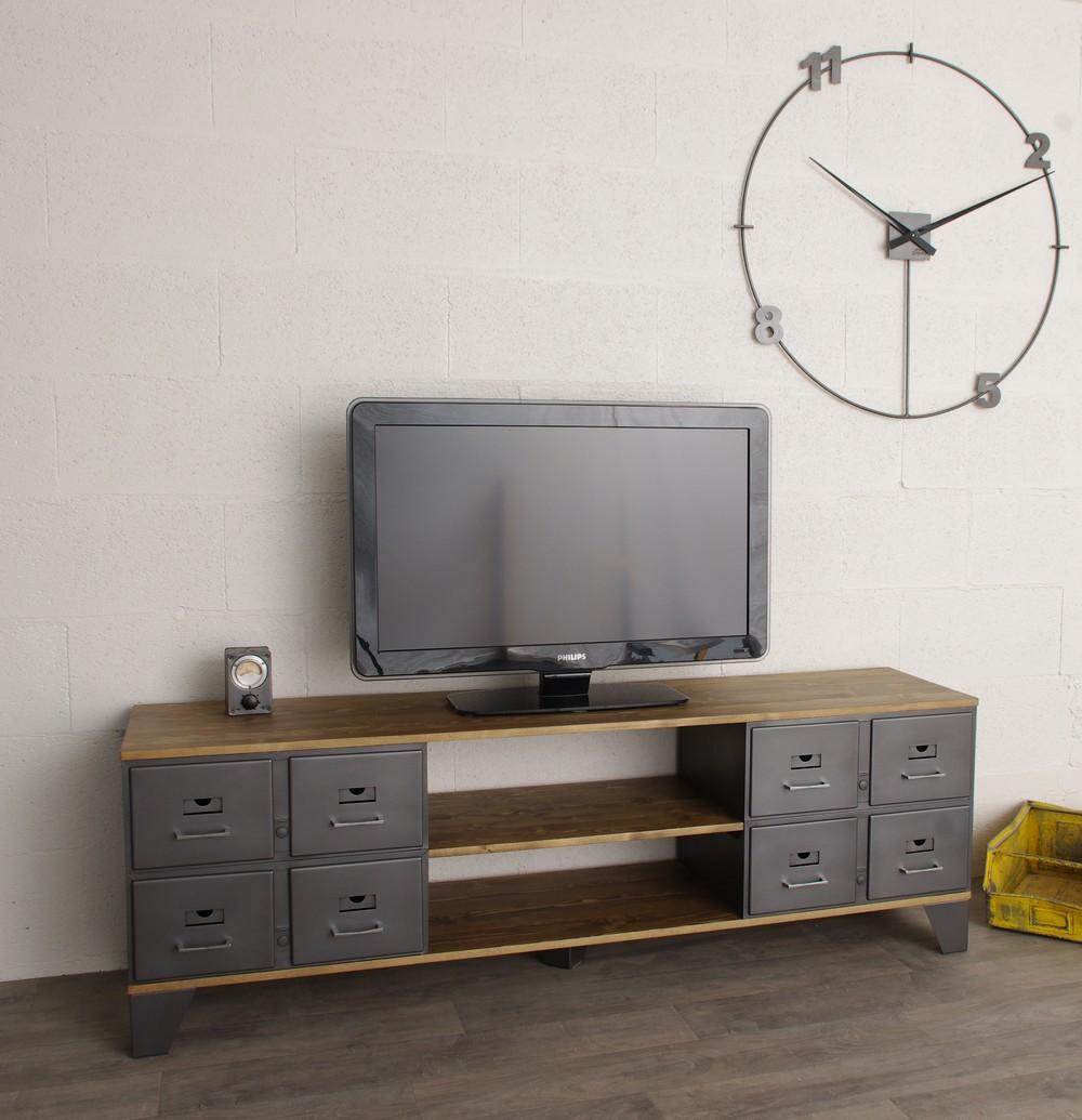 meuble tv industriel 8 tiroirs m talliques authentiques