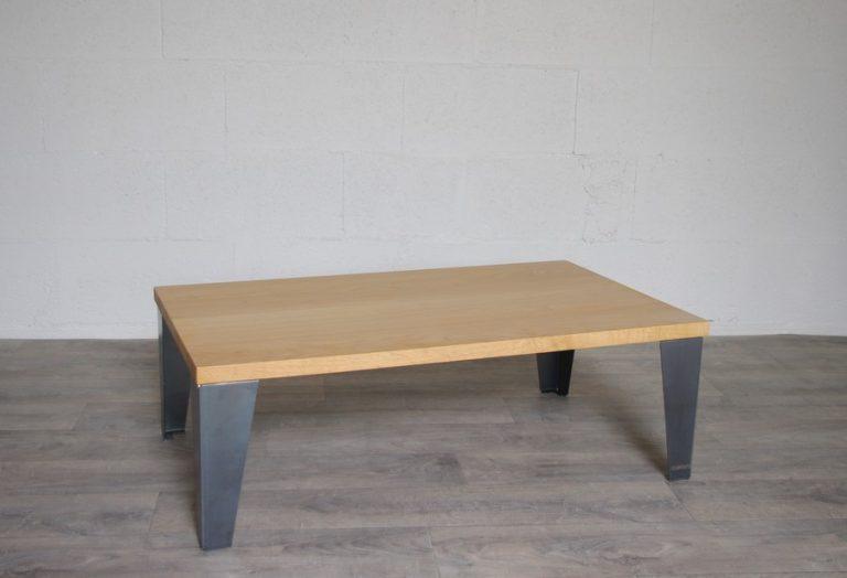 table basse acier et chêne