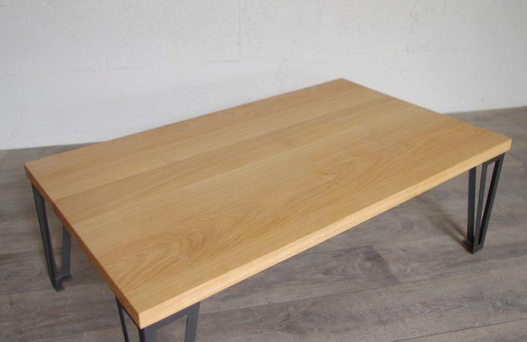 table basse en acier en chene massif