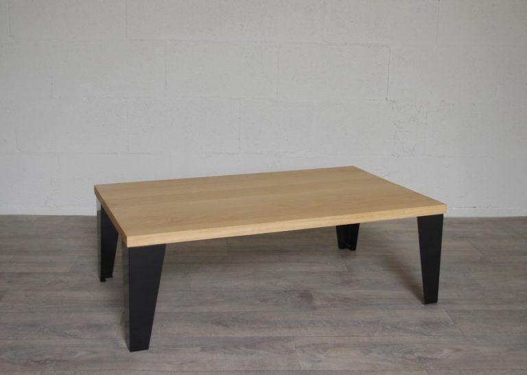 table basse en acier et chene sur mesure