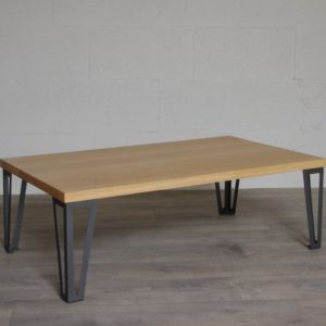 table basse en chene pieds hairpin legs