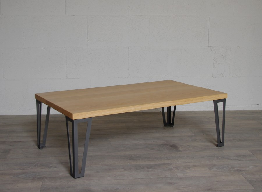 Table basse chêne massif pieds metal style hairpin legs