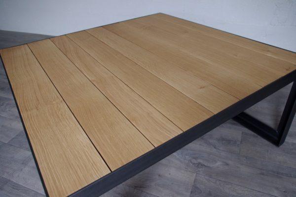 table basse industrielle en acier et chene