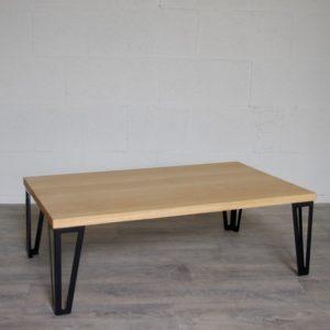 Table basse chêne massif pieds metal