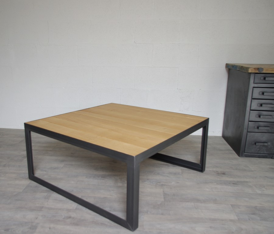 Table basse style industriel sur mesure acier ch ne fab for Table de salon industriel