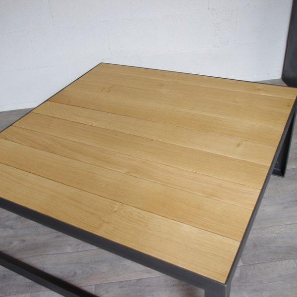 Table basse style industriel sur mesure acier ch ne fab for Table basse sur mesure