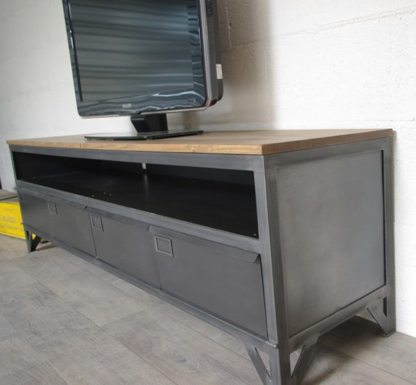 meuble tv en bois et metal style industriel