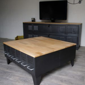 table basse style industriel sur mesure acier ch ne fab. Black Bedroom Furniture Sets. Home Design Ideas
