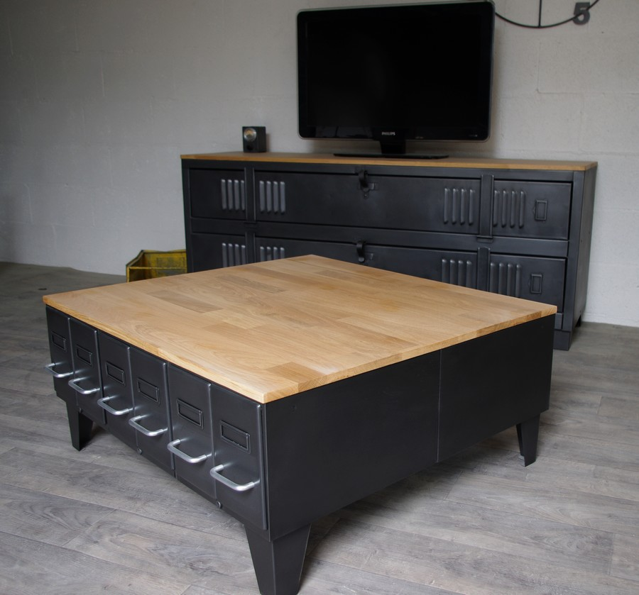 grande table basse industrielle avec tiroirs m tal et bois. Black Bedroom Furniture Sets. Home Design Ideas