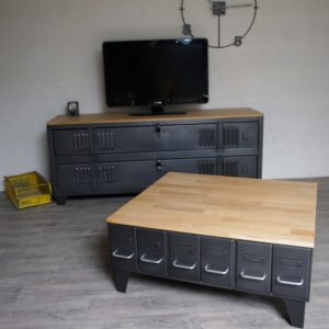 table basse industrielle table de repas acier bois sur. Black Bedroom Furniture Sets. Home Design Ideas