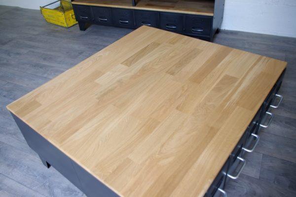 table basse style industriel plateau chene
