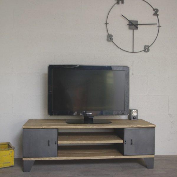 meuble tv industriel avec rangement portes. Black Bedroom Furniture Sets. Home Design Ideas