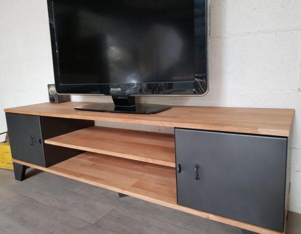 meuble tv style industriel new-york chene lamelle 2