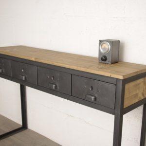 console style industriel avec tiroirs