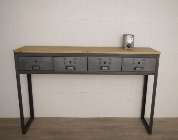 console style industriel a tiroirs