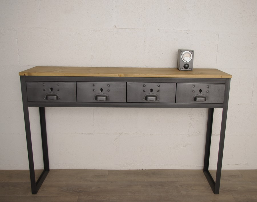 console style industriel sur mesure ref houston heure cr ation. Black Bedroom Furniture Sets. Home Design Ideas