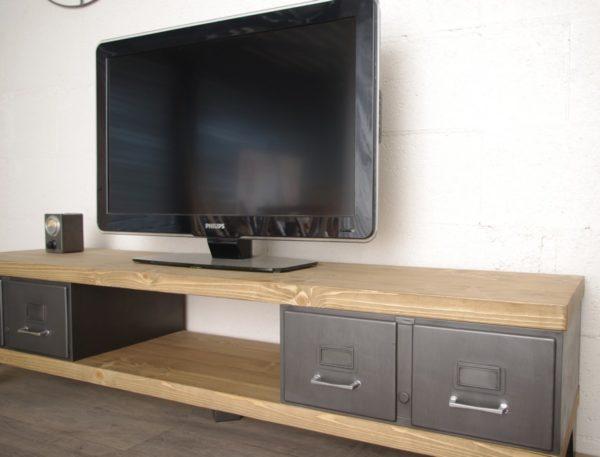 meuble tv style industriel tiroirs en metal