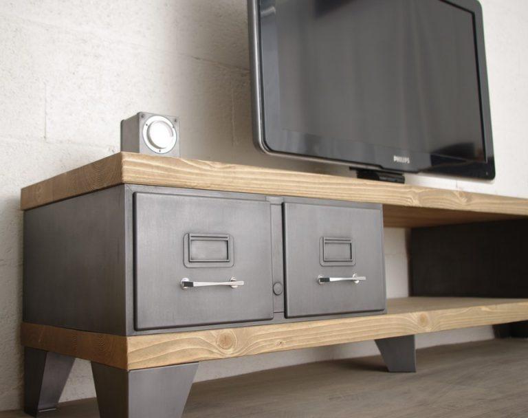 meuble tv style industriel tiroirs