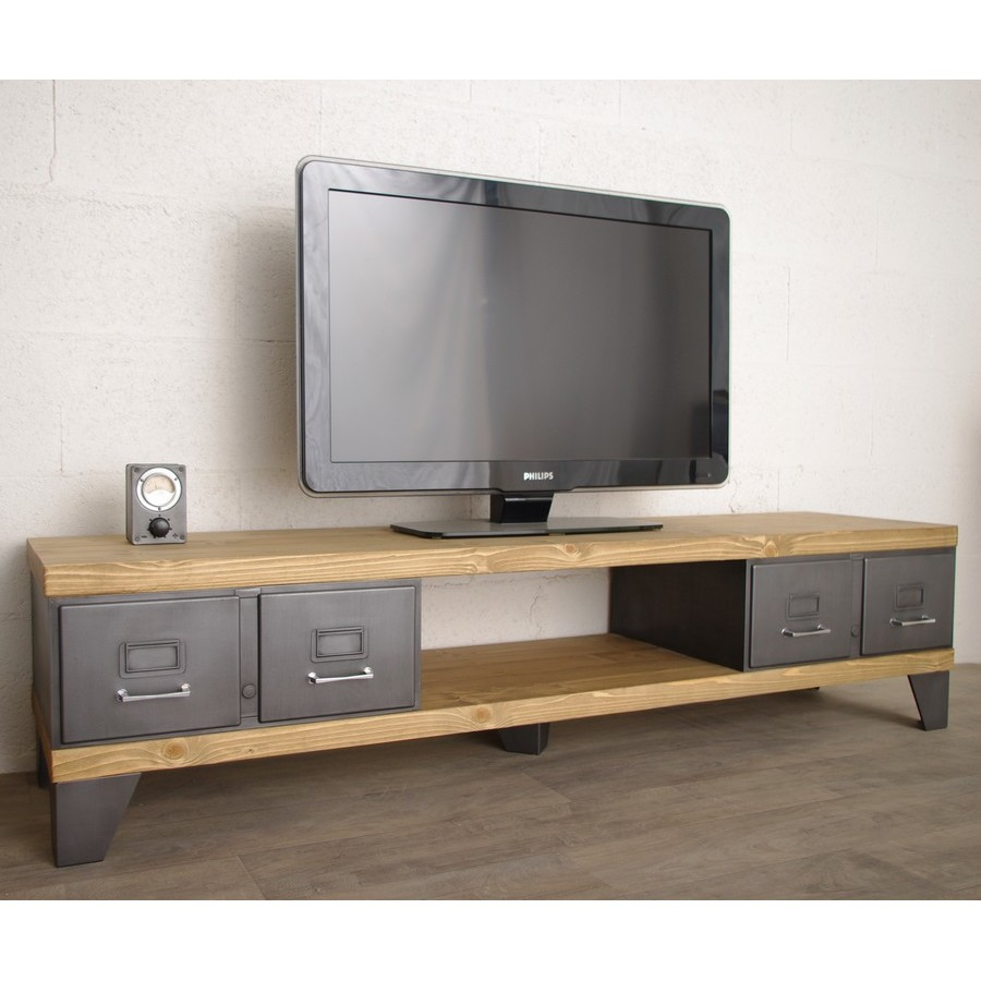 Meuble tv style industriel ref manhattan heure cr ation - Meuble tv gris anthracite ...