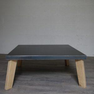 table basse en acier et chene