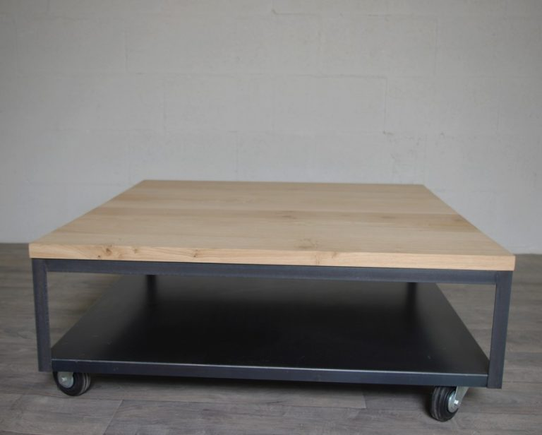 table basse industrielle plateau chene