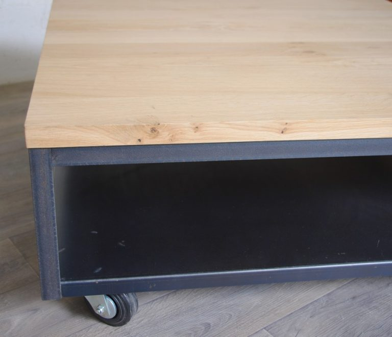 table basse industrielle acier chene