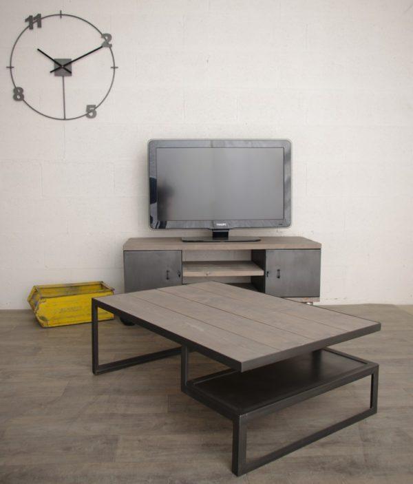 table basse style industriel planche grise