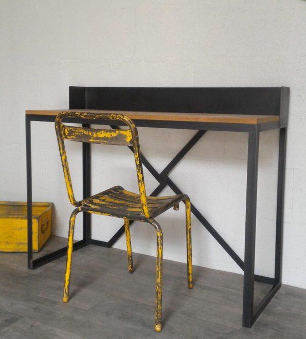 bureau style industriel en acier et bois