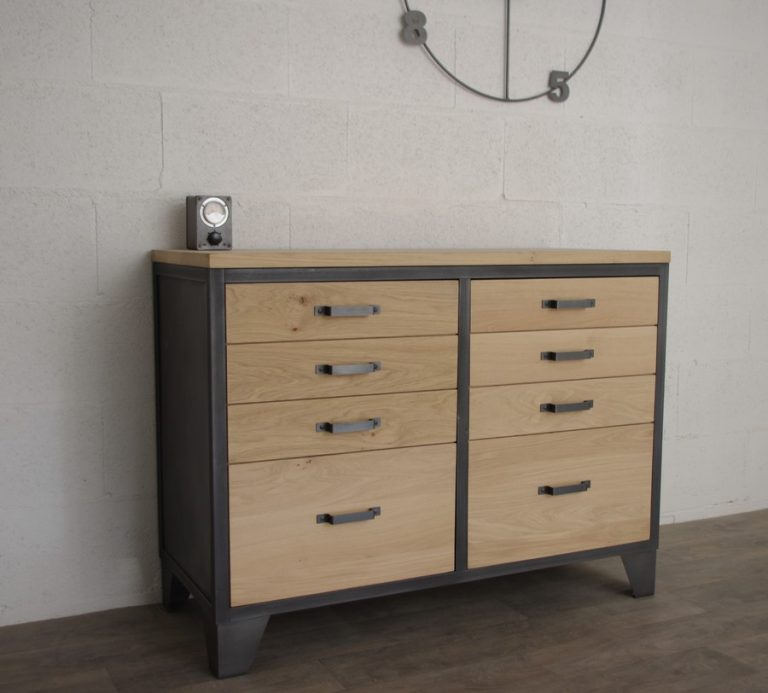 buffet industriel 2 portes ch ne et acier ref hudson. Black Bedroom Furniture Sets. Home Design Ideas