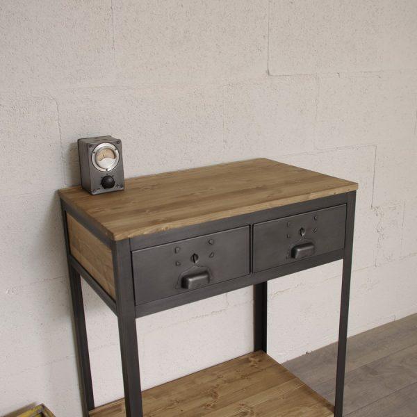 console industrielle en bois et metal