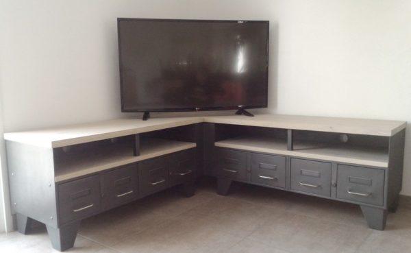 meuble tv d'angle style industriel