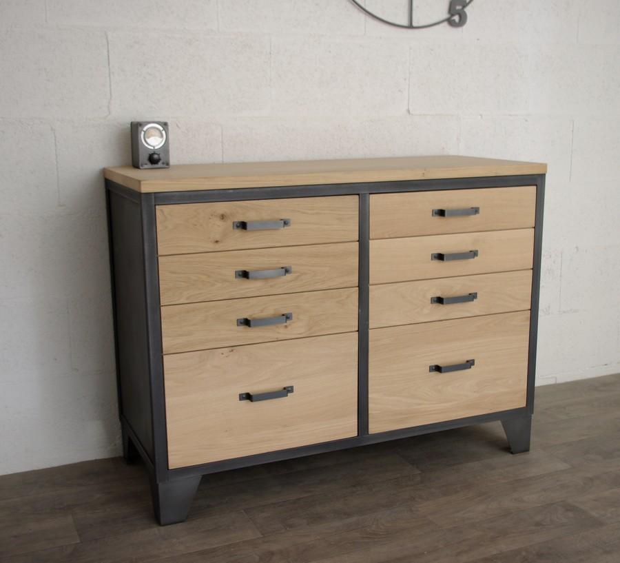 buffet industriel 2 portes ch ne et acier ref hudson heure cr ation. Black Bedroom Furniture Sets. Home Design Ideas