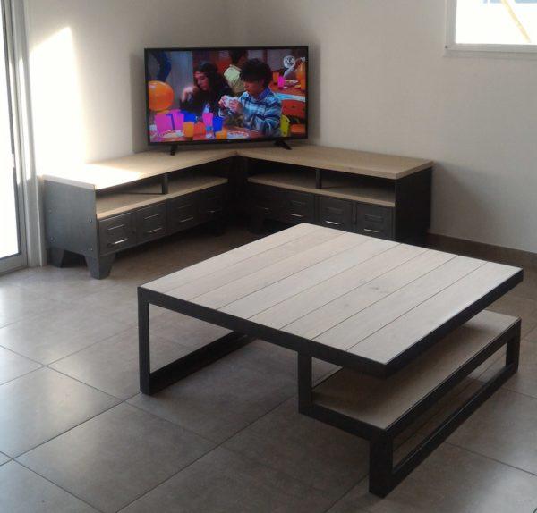 meuble tv d'angle style industriel acier