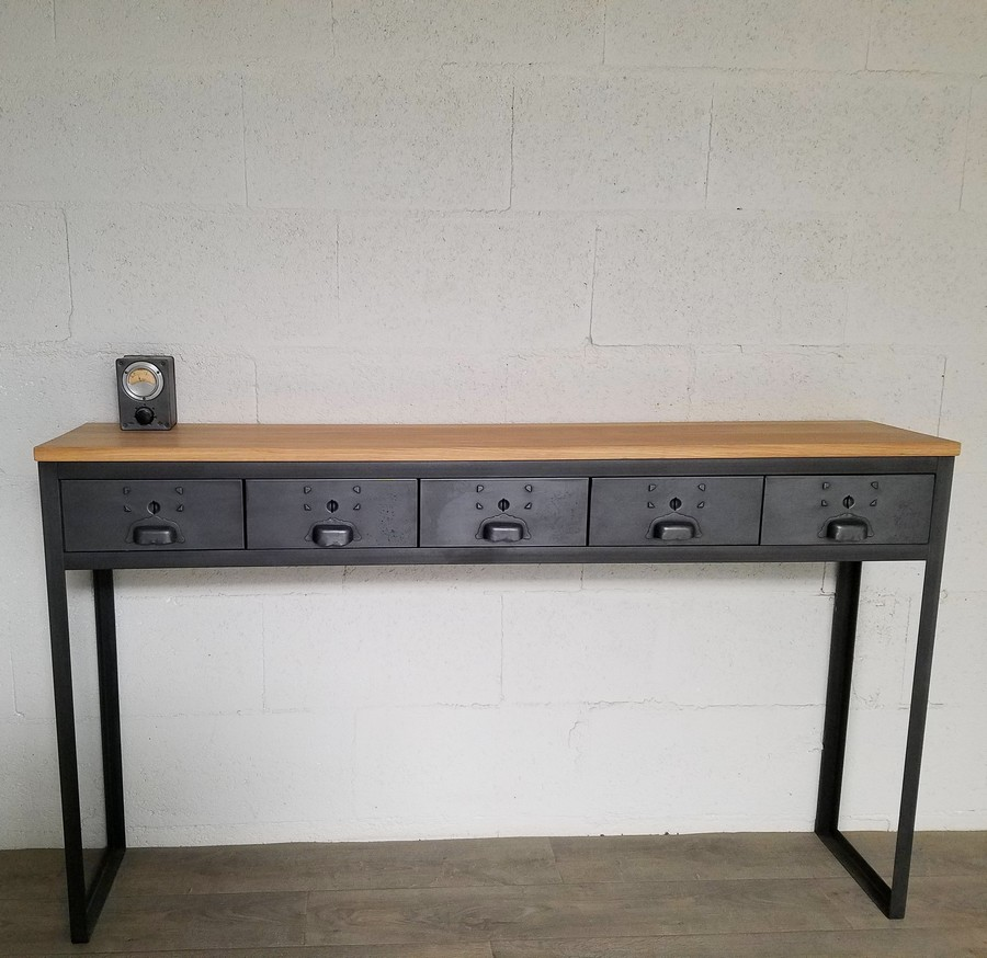 console style industriel 5 tiroirs ref houston5 heure cr ation. Black Bedroom Furniture Sets. Home Design Ideas